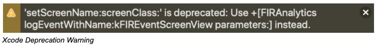 Xcode Deprecation Warning