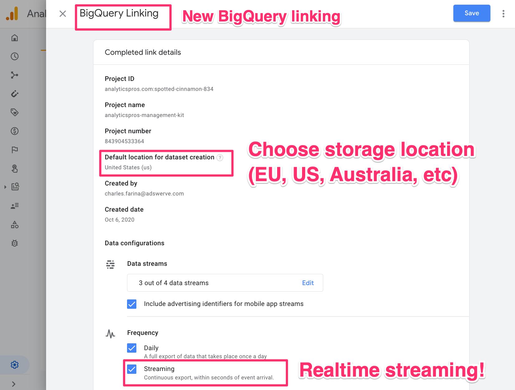 BigQuery Linking - GA4