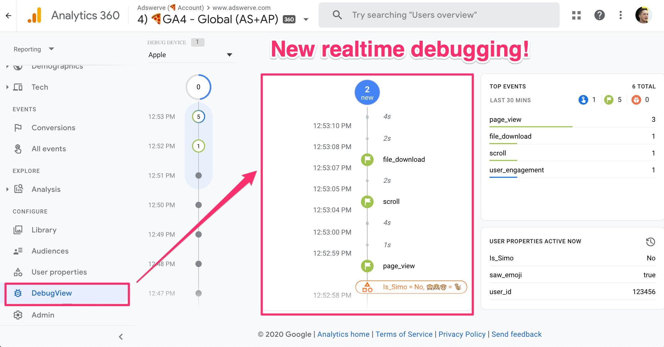 DebugView - Google Analytics 4