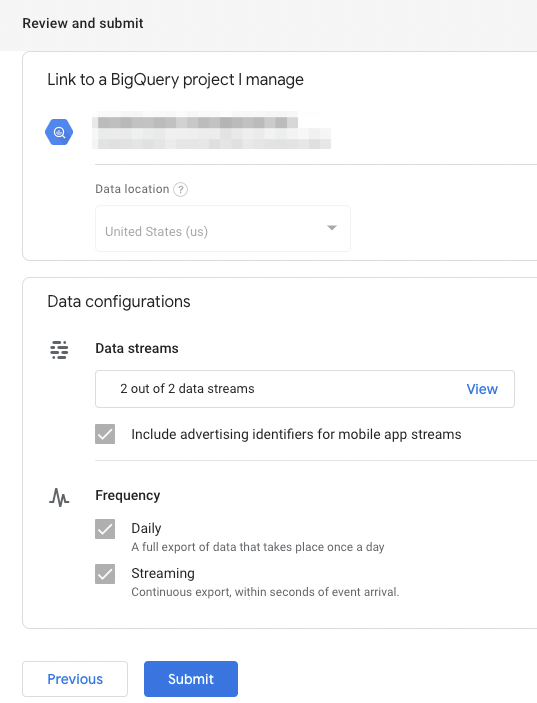Selecting a Google Cloud Project for your GA4 BQ Export